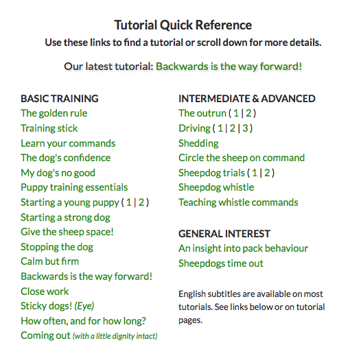 Screen grab of our sheepdog training tutorial titles